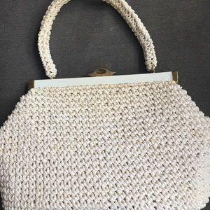 EUC Vintage White Polystraw Mad Men HANDBAG Purse